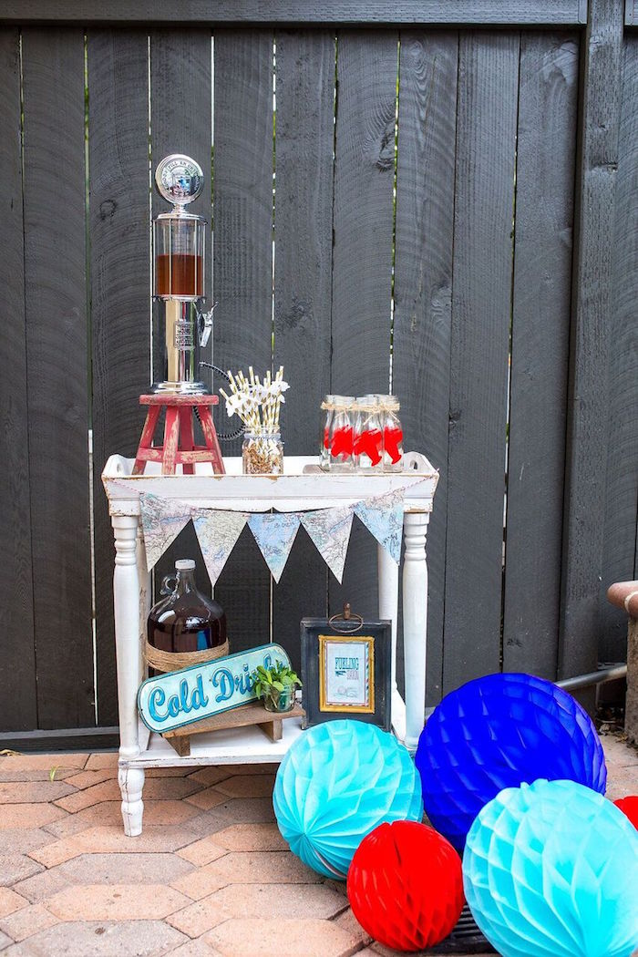 Drink table from a Vintage Airplane Birthday Party on Kara's Party Ideas | KarasPartyIdeas.com (8)