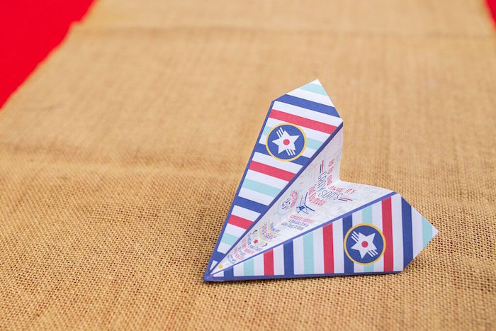 Paper airplane invitation from a Vintage Airplane Birthday Party on Kara's Party Ideas | KarasPartyIdeas.com (72)