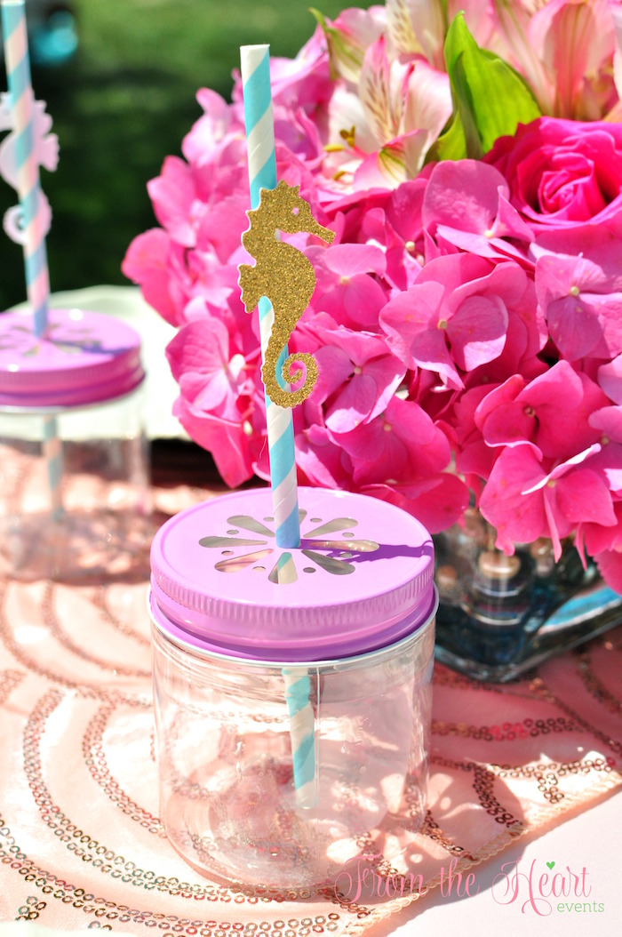 Mason jar drink cups with daisy cut lids from a Vintage Glamorous Little Mermaid Birthday Party on Kara's Party Ideas | KarasPartyIdeas.com (49)