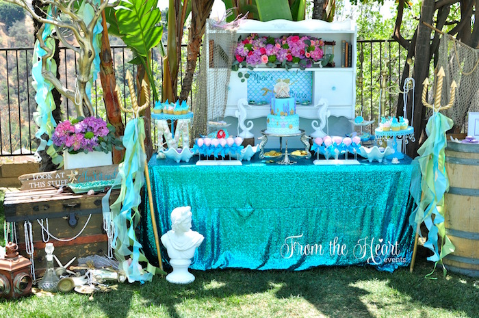 Vintage Glamorous Little Mermaid Birthday Party on Kara's Party Ideas | KarasPartyIdeas.com (48)