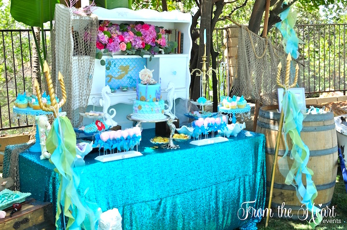 Vintage Glamorous Little Mermaid Birthday Party on Kara's Party Ideas | KarasPartyIdeas.com (46)