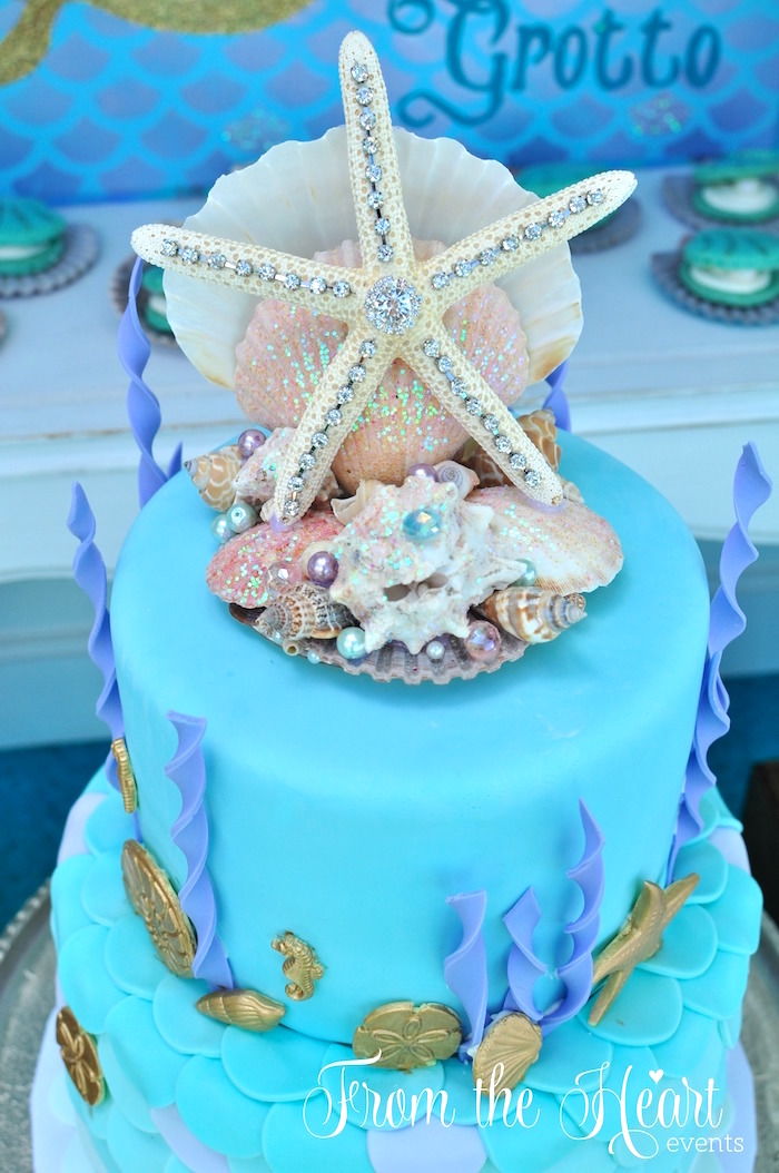 Star fish cake topper from a Mermaid themed birthday cake from a Vintage Glamorous Little Mermaid Birthday Party on Kara's Party Ideas | KarasPartyIdeas.com (44)