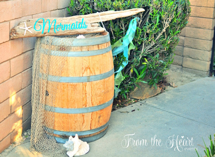 Wooden barrel entrance from a Vintage Glamorous Little Mermaid Birthday Party on Kara's Party Ideas | KarasPartyIdeas.com (60)