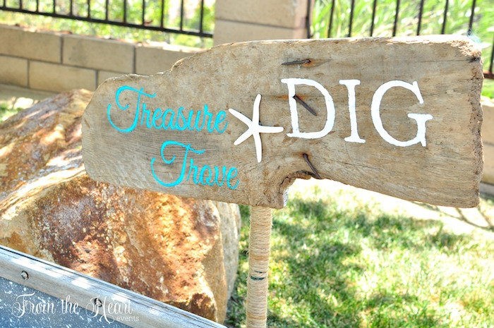 Driftwood party sign from a Vintage Glamorous Little Mermaid Birthday Party on Kara's Party Ideas | KarasPartyIdeas.com (37)
