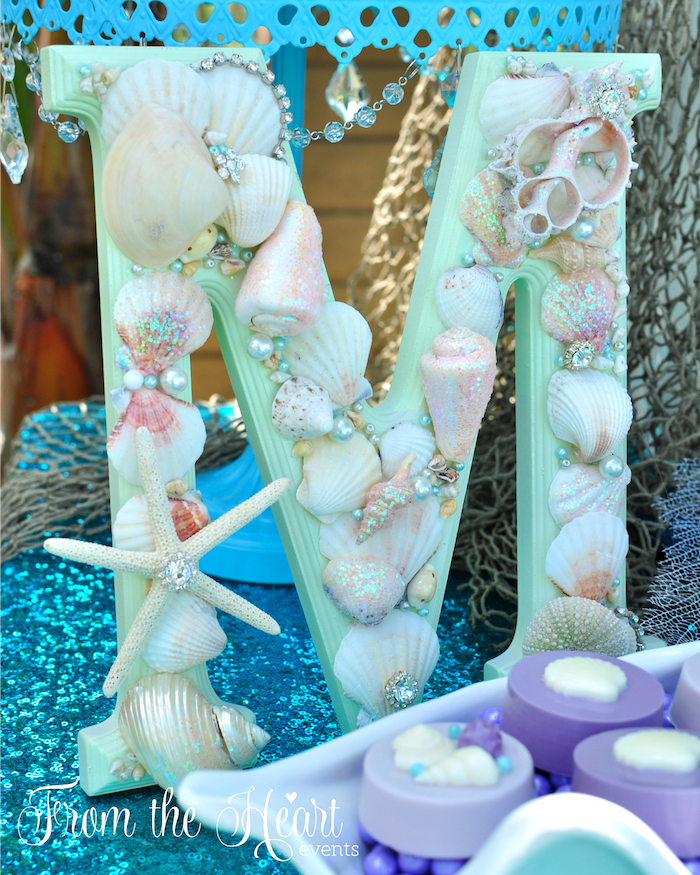 Kara 39 s party ideas vintage glamorous little mermaid for Ariel birthday decoration ideas