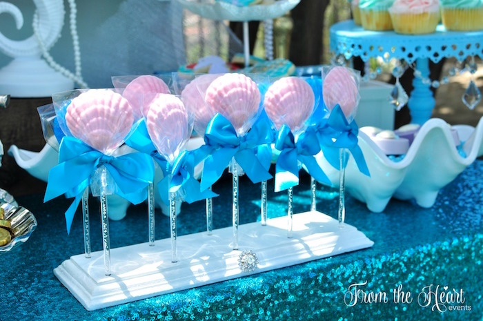 Sea shell lollipops from a Vintage Glamorous Little Mermaid Birthday Party on Kara's Party Ideas | KarasPartyIdeas.com (31)