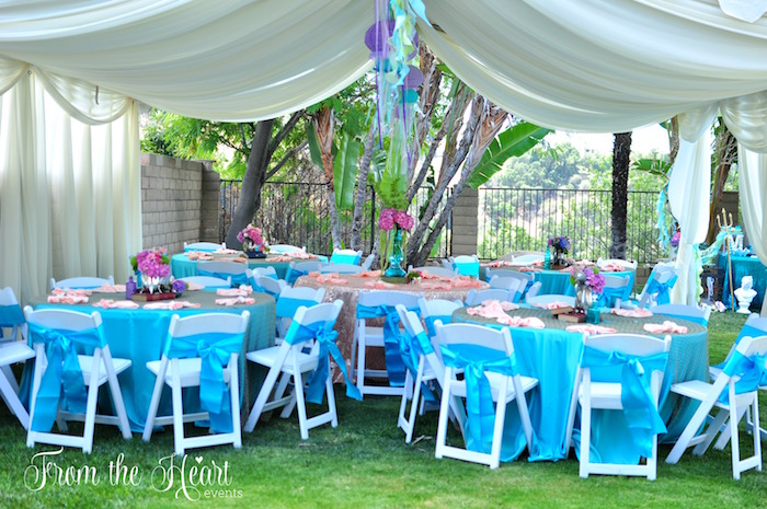 Party tent and guest tables from a Vintage Glamorous Little Mermaid Birthday Party on Kara's Party Ideas | KarasPartyIdeas.com (30)