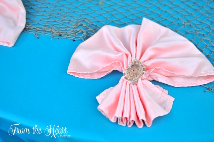 Sea shell ringed napkin from a Vintage Glamorous Little Mermaid Birthday Party on Kara's Party Ideas | KarasPartyIdeas.com (29)