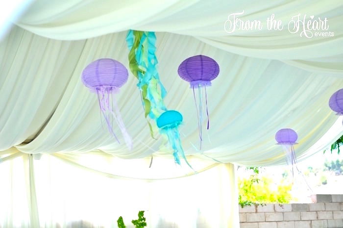 Paper lantern jellyfish from a Vintage Glamorous Little Mermaid Birthday Party on Kara's Party Ideas | KarasPartyIdeas.com (28)