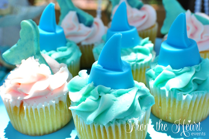 Fin cupcakes from a Vintage Glamorous Little Mermaid Birthday Party on Kara's Party Ideas | KarasPartyIdeas.com (22)