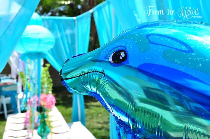 Dolphin balloon from a Vintage Glamorous Little Mermaid Birthday Party on Kara's Party Ideas | KarasPartyIdeas.com (19)