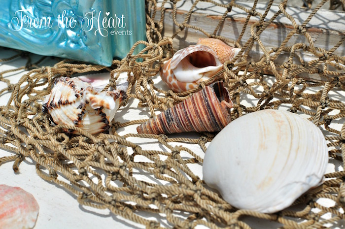 Net of sea shells from a Vintage Glamorous Little Mermaid Birthday Party on Kara's Party Ideas | KarasPartyIdeas.com (18)