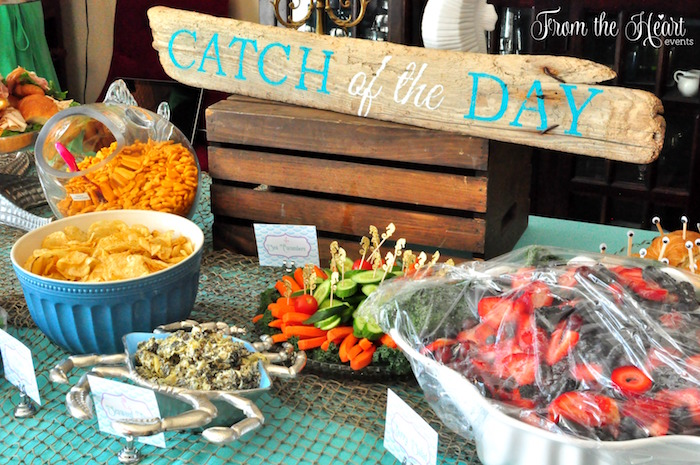 """Catch of the Day"" food table from a Vintage Glamorous Little Mermaid Birthday Party on Kara's Party Ideas 