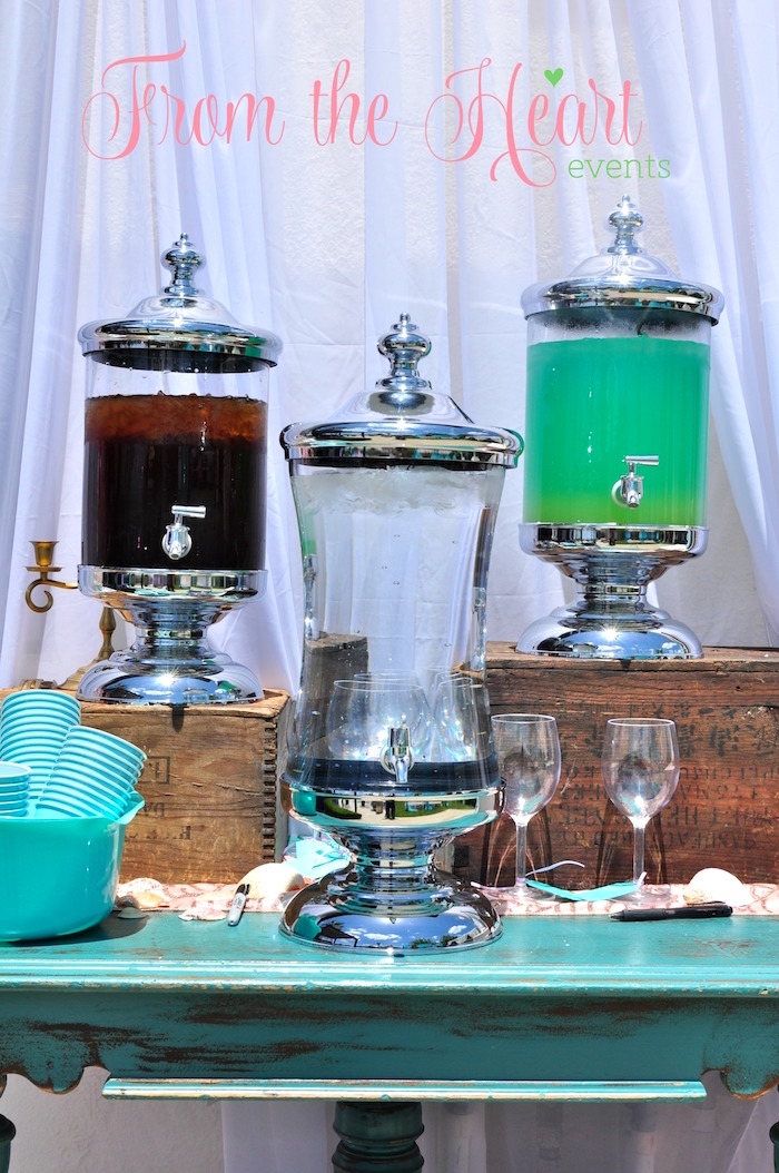 Beverage table from a Vintage Glamorous Little Mermaid Birthday Party on Kara's Party Ideas | KarasPartyIdeas.com (12)