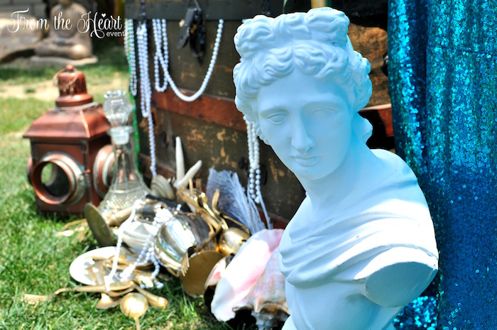 Statue from a Vintage Glamorous Little Mermaid Birthday Party on Kara's Party Ideas | KarasPartyIdeas.com (5)