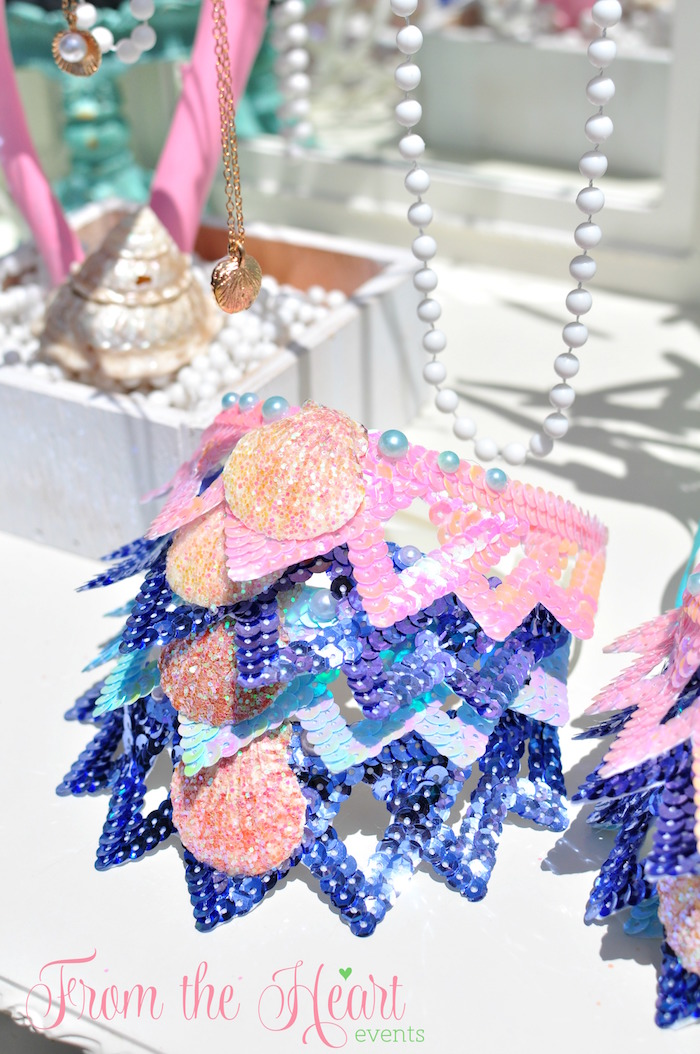 Sequin crowns from a Vintage Glamorous Little Mermaid Birthday Party on Kara's Party Ideas | KarasPartyIdeas.com (56)