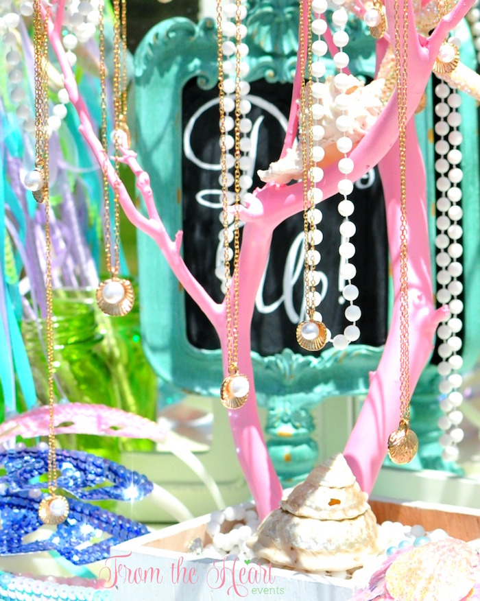 Necklaces from a Vintage Glamorous Little Mermaid Birthday Party on Kara's Party Ideas | KarasPartyIdeas.com (55)