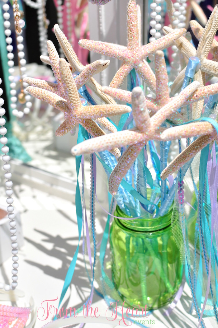 Star fish wands from a Vintage Glamorous Little Mermaid Birthday Party on Kara's Party Ideas | KarasPartyIdeas.com (54)