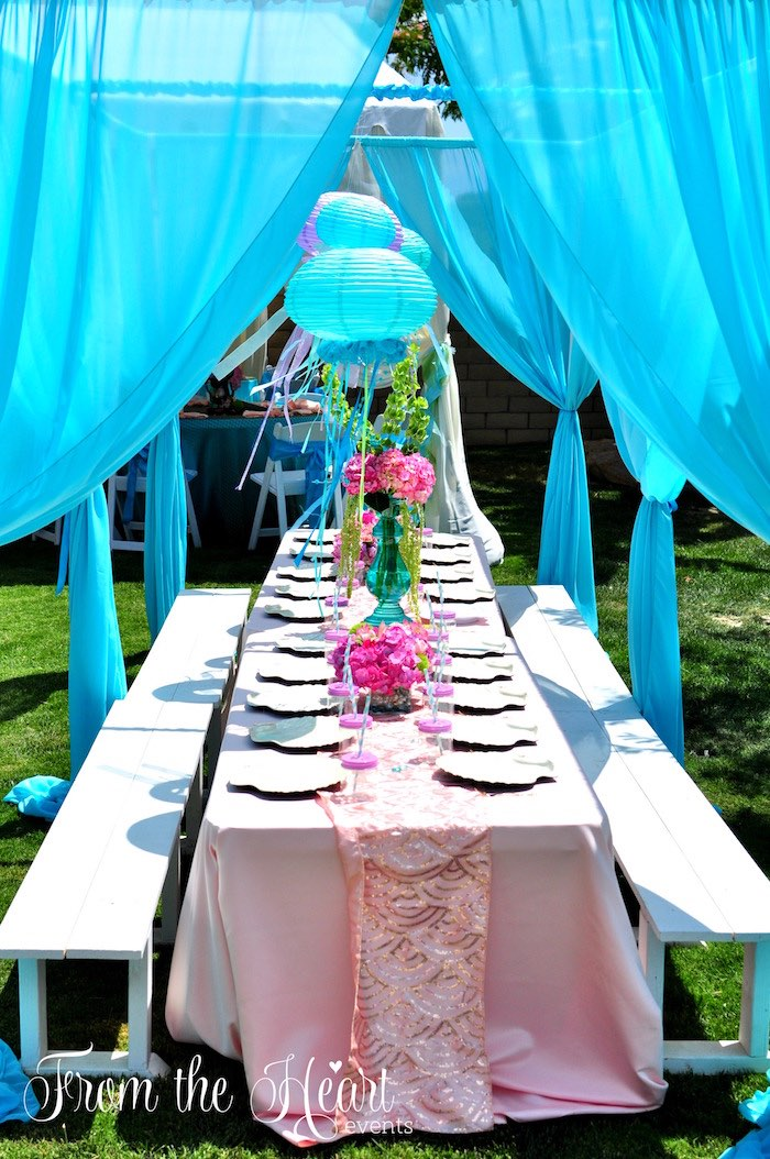 Vintage Glamorous Little Mermaid Birthday Party & Karau0027s Party Ideas Vintage Glamorous Little Mermaid Birthday Party ...