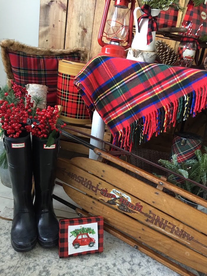 Hunter boots adorned with holly berries from a Vintage Rustic Plaid Christmas Party on Kara's Party Ideas | KarasPartyIdeas.com (31)