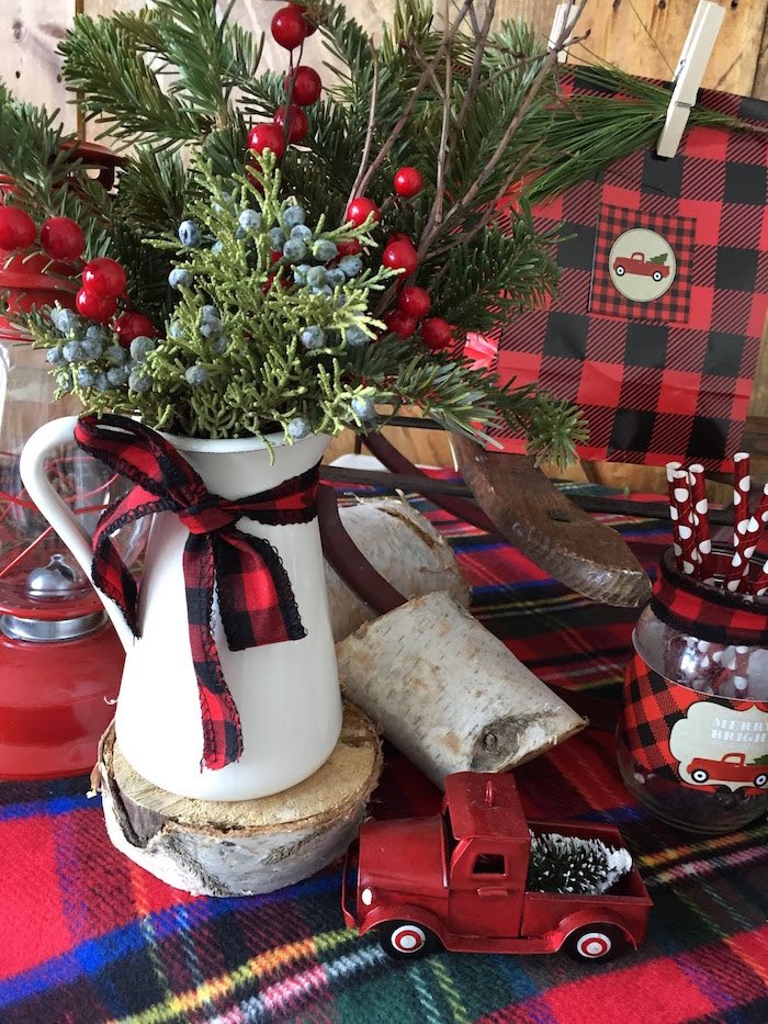 Gorgeous pines placed in a vintage kettle from a Vintage Rustic Plaid Christmas Party on Kara's Party Ideas | KarasPartyIdeas.com (29)