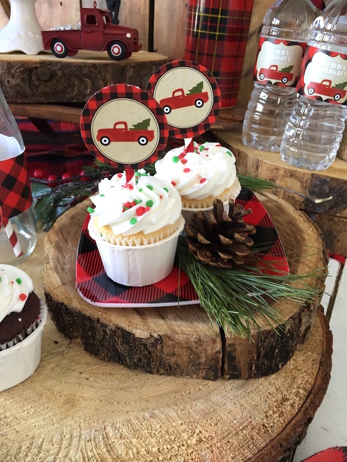 Cupcakes from a Vintage Rustic Plaid Christmas Party on Kara's Party Ideas | KarasPartyIdeas.com (23)