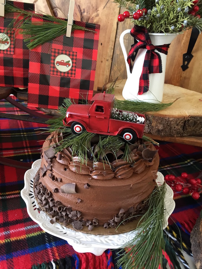 Chocolate cake topped with a vintage red truck from a Vintage Rustic Plaid Christmas Party on Kara's Party Ideas | KarasPartyIdeas.com (40)