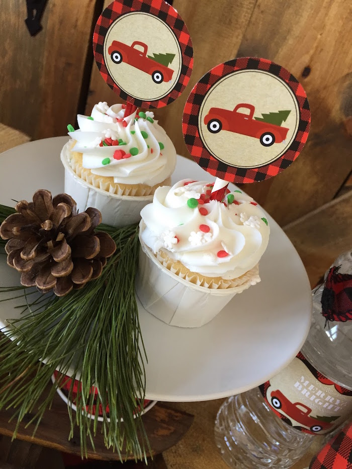 Cupcakes from a Vintage Rustic Plaid Christmas Party on Kara's Party Ideas | KarasPartyIdeas.com (21)