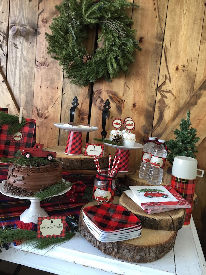 Dessert table details from a Vintage Rustic Plaid Christmas Party on Kara's Party Ideas | KarasPartyIdeas.com (19)