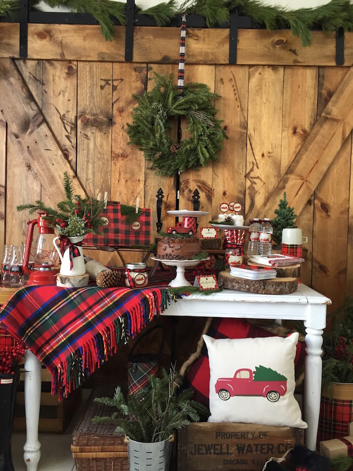Dessert spread from a Vintage Rustic Plaid Christmas Party on Kara's Party Ideas | KarasPartyIdeas.com (17)