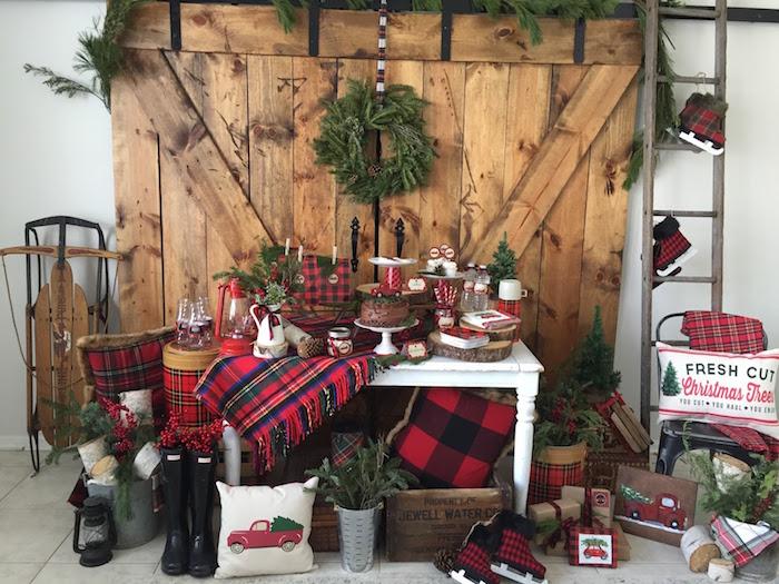 Kara S Party Ideas Vintage Rustic Plaid Christmas Party