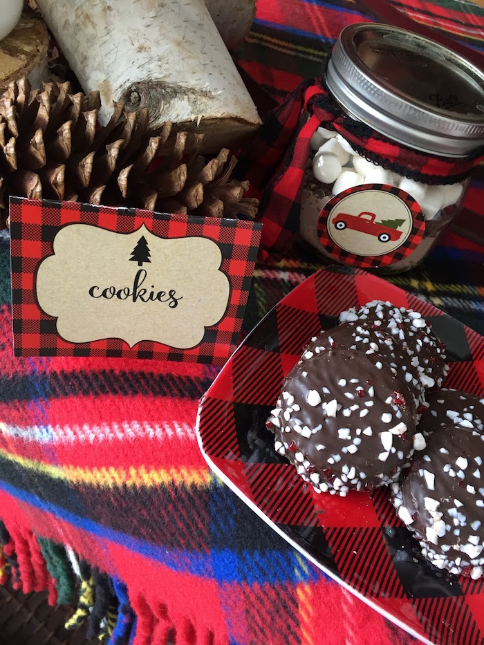Cookies with custom plaid label from a Vintage Rustic Plaid Christmas Party on Kara's Party Ideas | KarasPartyIdeas.com (13)