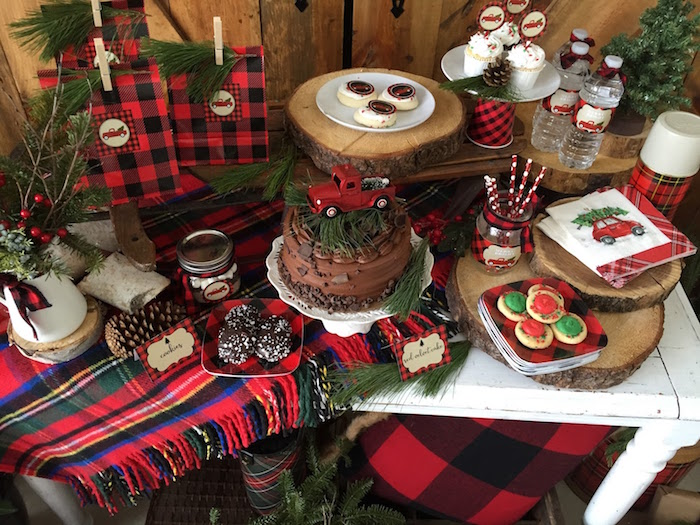 Sweet tabletop from a Vintage Rustic Plaid Christmas Party on Kara's Party Ideas | KarasPartyIdeas.com (12)