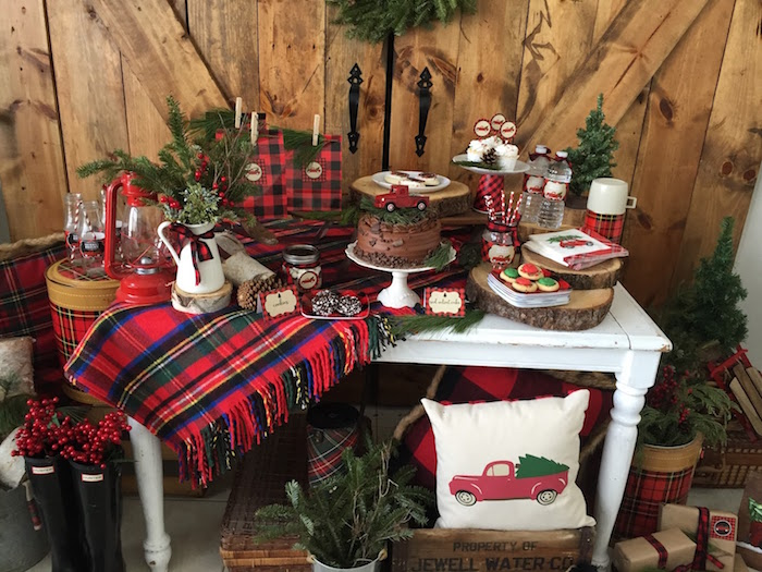 Plaid Dessert Table From A Vintage Rustic Christmas Party On Karas Ideas