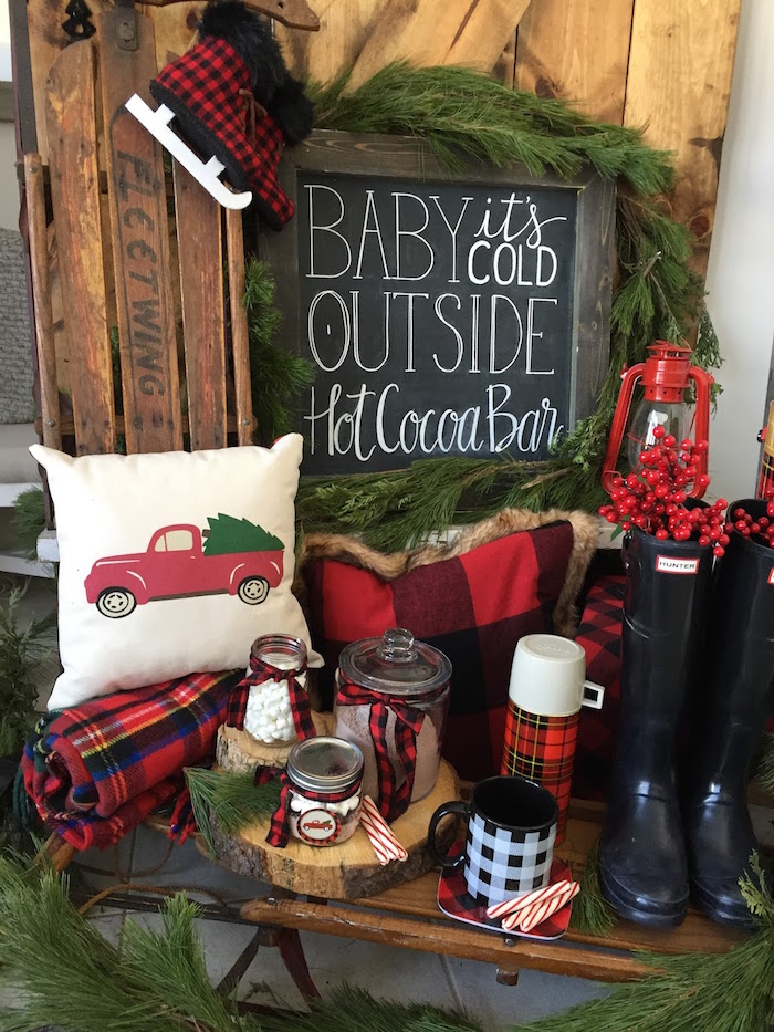 Hot Cocoa Bar from a Vintage Rustic Plaid Christmas Party on Kara's Party Ideas | KarasPartyIdeas.com (10)