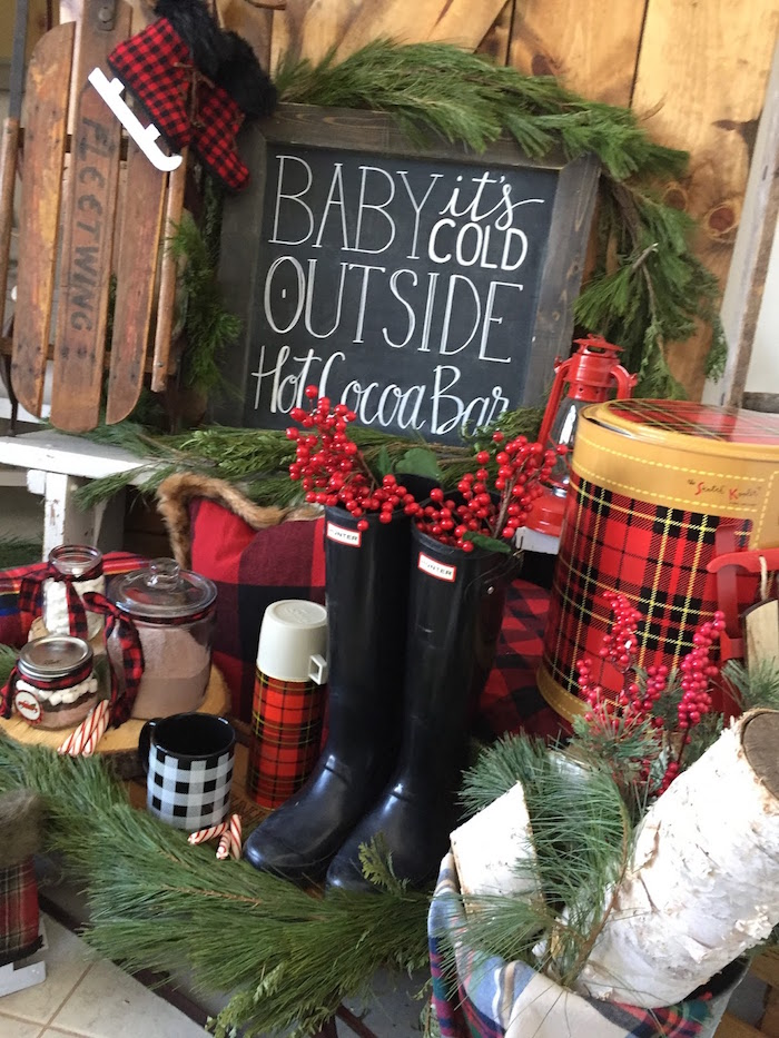 Hot Cocoa Bar from a Vintage Rustic Plaid Christmas Party on Kara's Party Ideas | KarasPartyIdeas.com (8)