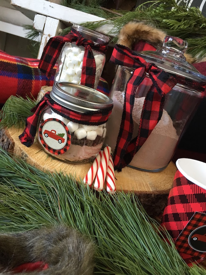Hot cocoa jars from a Vintage Rustic Plaid Christmas Party on Kara's Party Ideas | KarasPartyIdeas.com (6)