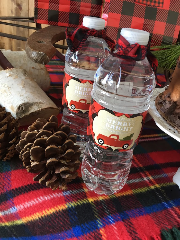 Water bottle labels from a Vintage Rustic Plaid Christmas Party on Kara's Party Ideas | KarasPartyIdeas.com (38)