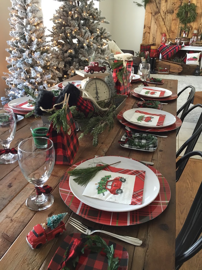 Gorgeous plaid guest table spread from a Vintage Rustic Plaid Christmas Party on Kara's Party Ideas | KarasPartyIdeas.com (37)