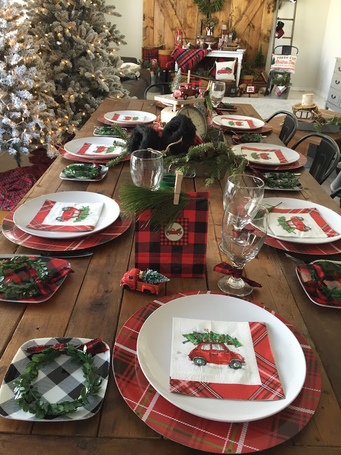 Guest table spread from aVintage Rustic Plaid Christmas Party on Kara's Party Ideas | KarasPartyIdeas.com (36)
