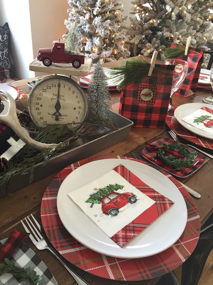 Plaid place setting from a Vintage Rustic Plaid Christmas Party on Kara's Party Ideas | KarasPartyIdeas.com (35)