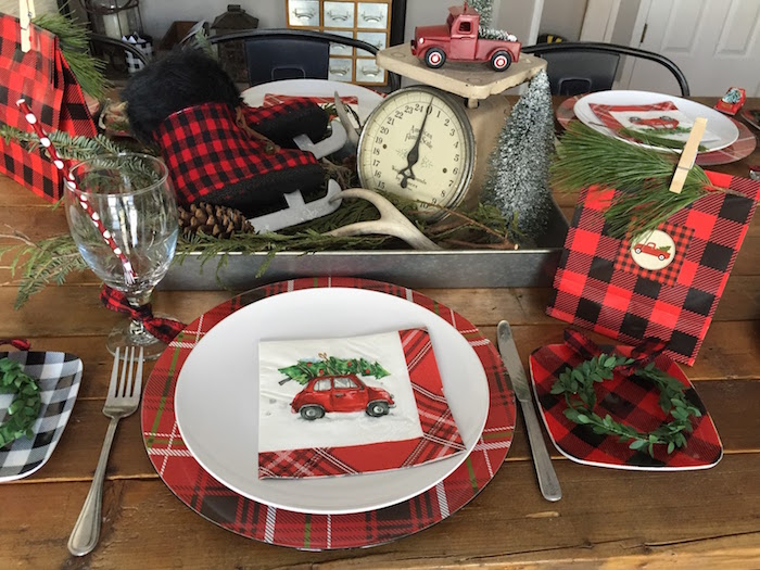 Plaid place setting from a Vintage Rustic Plaid Christmas Party on Kara's Party Ideas | KarasPartyIdeas.com (34)