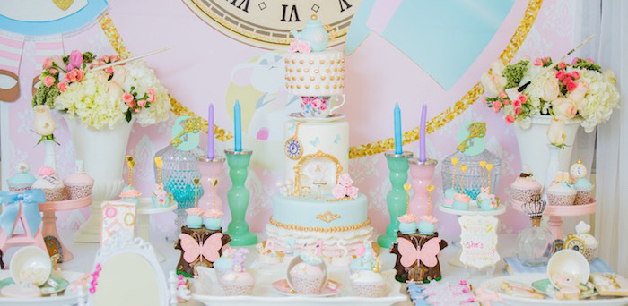 Pastel Glam Alice in Wonderland Birthday Party on Kara's Party Ideas | KarasPartyIdeas.com (2)