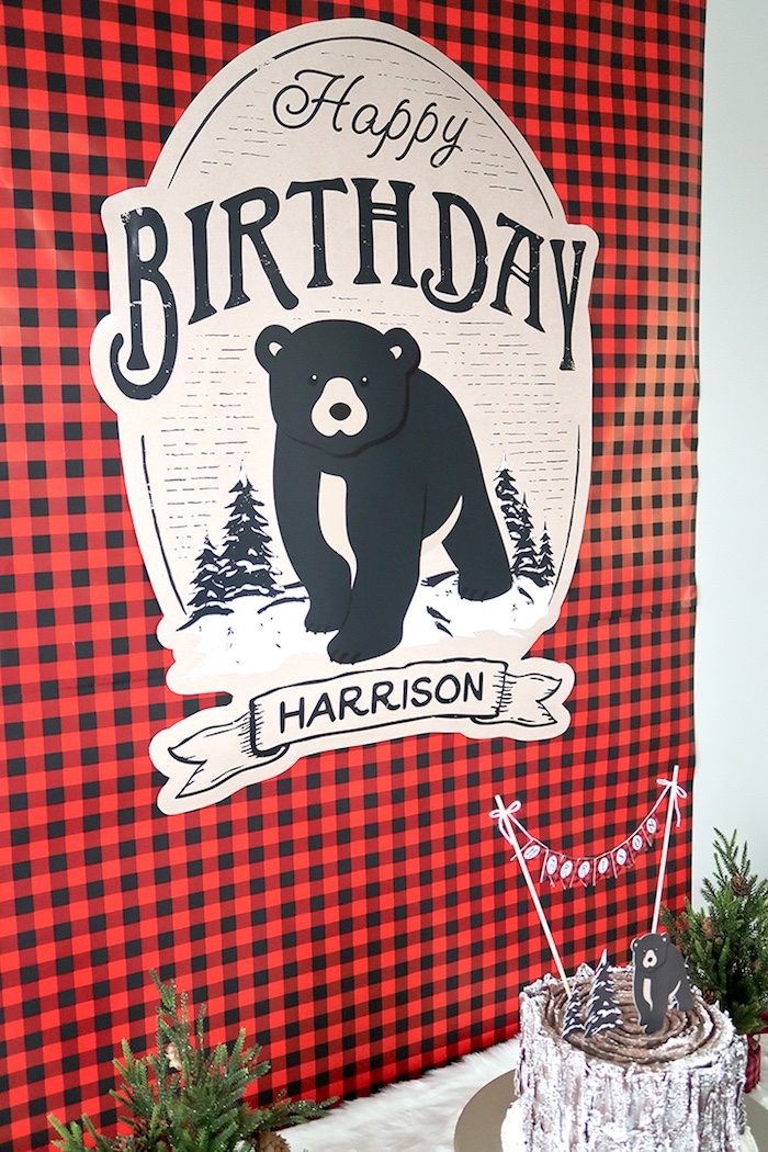 Plaid bear backdrop from a Baby Bear Lumberjack Birthday Party on Kara's Party Ideas | KarasPartyIdeas.com (17)