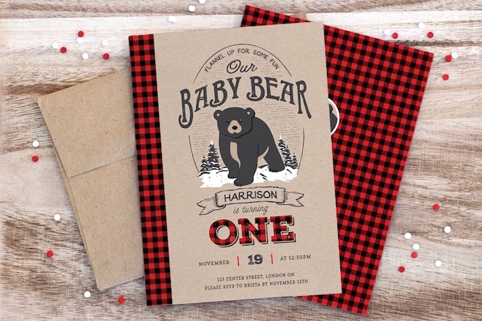 Rustic baby bear invitation from a Baby Bear Lumberjack Birthday Party on Kara's Party Ideas | KarasPartyIdeas.com (32)