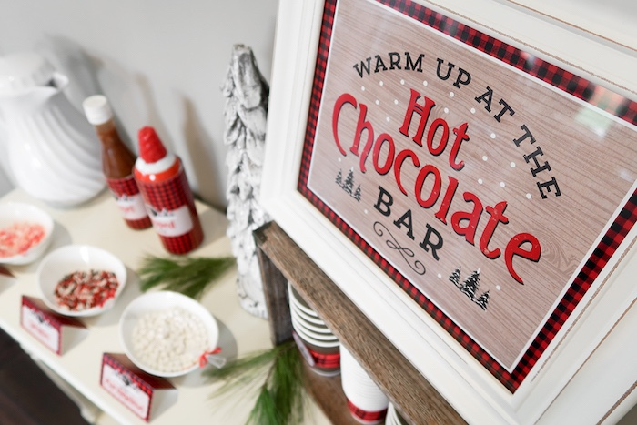 Hot Chocolate Bar sign from a Baby Bear Lumberjack Birthday Party on Kara's Party Ideas | KarasPartyIdeas.com (7)