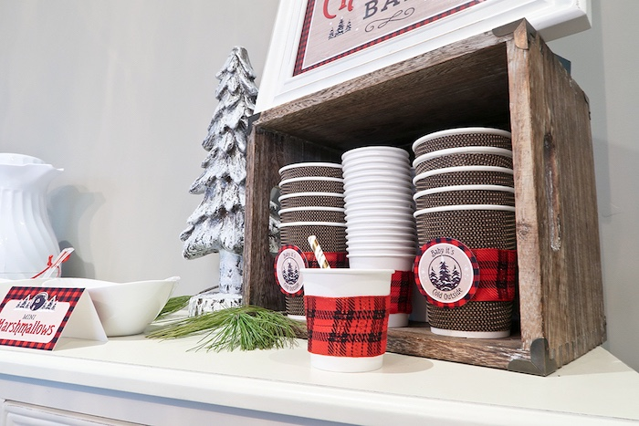 Hot cocoa mugs from a Baby Bear Lumberjack Birthday Party on Kara's Party Ideas | KarasPartyIdeas.com (6)