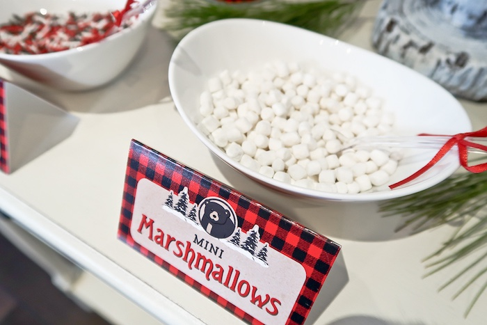 Mini Marshmallows from a Baby Bear Lumberjack Birthday Party on Kara's Party Ideas | KarasPartyIdeas.com (4)