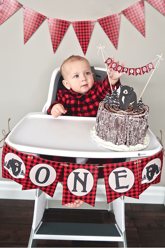 Plaid highchair decor from a Baby Bear Lumberjack Birthday Party on Kara's Party Ideas | KarasPartyIdeas.com (28)