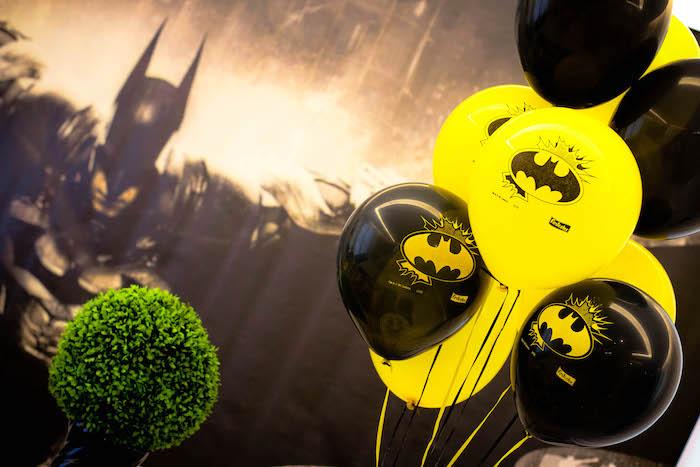 Batman backdrop and balloon bunch from a Batman Birthday Party on Kara's Party Ideas | KarasPartyIdeas.com (8)